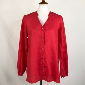 Eileen Fisher Linen Button Front Tunic Style Top